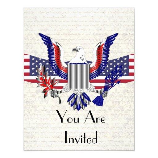 Patriotischer amerikanischer Adler u. Flagge Personalisierte Einladungskarten