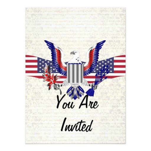 Patriotischer amerikanischer Adler u. Flagge Einladungen