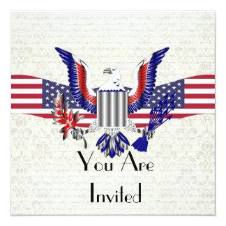 Patriotischer amerikanischer Adler u. Flagge Quadratische 13,3 Cm Einladungskarte