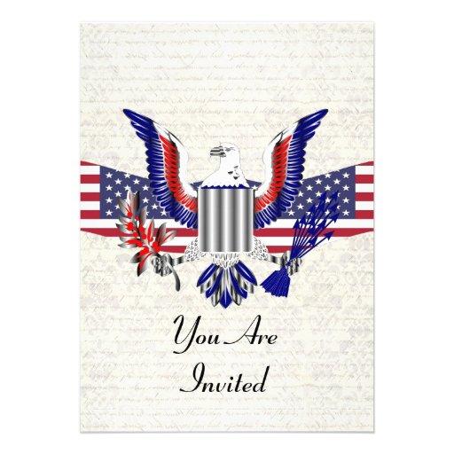 Patriotischer amerikanischer Adler u. Flagge Einladungskarte