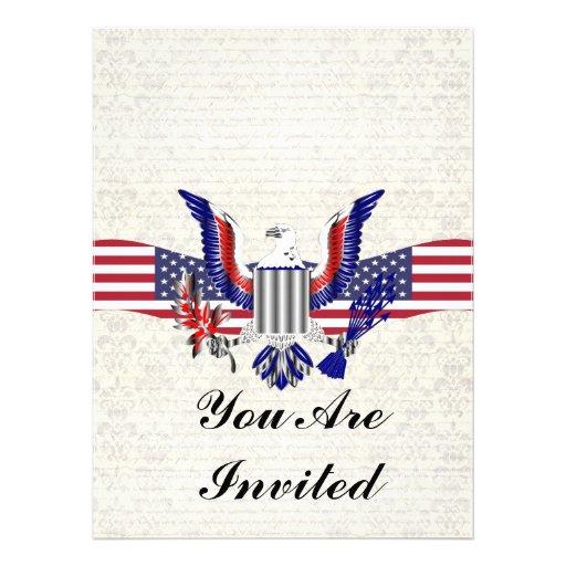 Patriotischer amerikanischer Adler u. Flagge Individuelle Ankündigungen