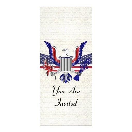 Patriotischer amerikanischer Adler u. Flagge Personalisierte Ankündigungskarten