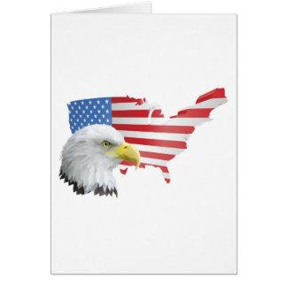 patriotischer amerikanischer Adler und Flagge Grußkarte