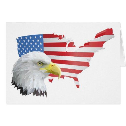 patriotischer amerikanischer Adler und Flagge Karten