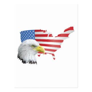 patriotischer amerikanischer Adler und Flagge Postkarten