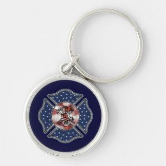 Patriotischer Feuerwehrmann maltesisch Schlüsselanhänger