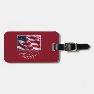 Patriotischer Flagge-Dank im Rot Gepäckanhänger
