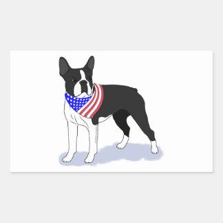 Patriotischer FlaggeBandana Boston Terrier Rechteckiger Aufkleber
