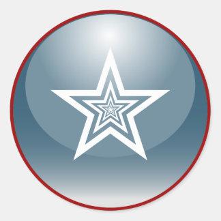 Patriotischer glatter Stern Runder Aufkleber