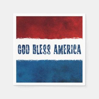 Patriotischer Gott segnen Amerikapapierservietten Servietten