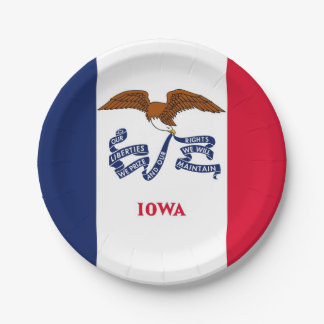 Patriotischer Pappteller mit Flagge von Iowa