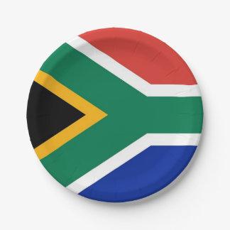 Patriotischer Pappteller mit Flagge von Südafrika