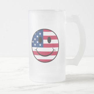 Patriotischer smiley mattglas bierglas