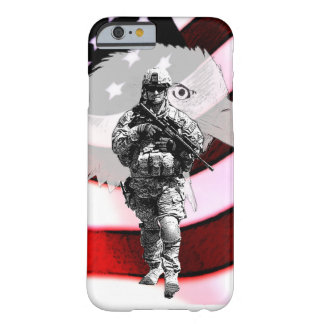 Patriotischer Soldat mit Eagle und US-Flagge Barely There iPhone 6 Hülle