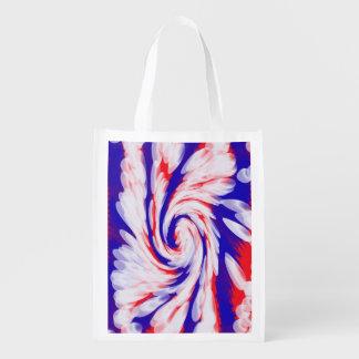 Patriotischer Strudel abstrakt Wiederverwendbare Einkaufstaschen