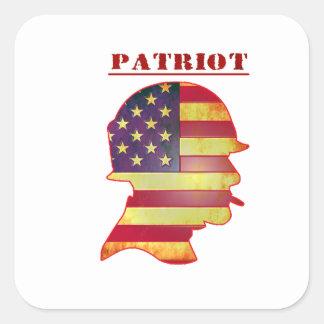 Patriotischer US-Flagge-Militär-Sturzhelm Quadratischer Aufkleber