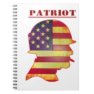 Patriotischer US-Flagge-Militär-Sturzhelm Spiral Notizblock