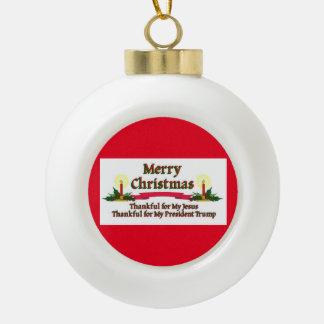 Patriotischer WeihnachtsTrumpf Keramik Kugel-Ornament