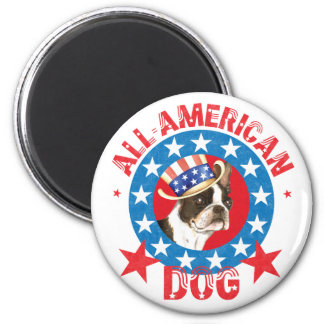 Patriotisches Boston Terrier Runder Magnet 5,7 Cm