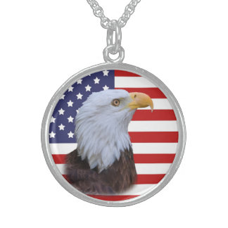 Patriotisches Eagle und USA-Flagge Sterling Silberkette