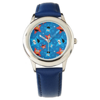 Patriotisches Elmo und Plätzchen-Monster-Muster Uhr