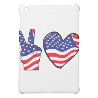 Patriotisches Friedenszeichen und -herz iPad Mini Hülle