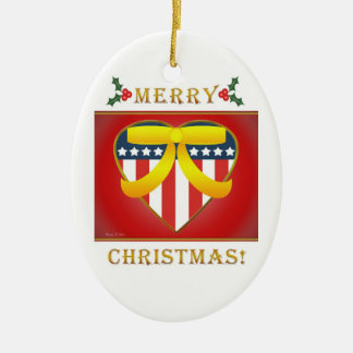Patriotisches Herz-Gelb-Band-runde Verzierung Keramik Ornament