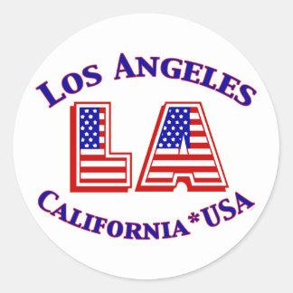 Patriotisches Logo Los Angeless USA Runder Aufkleber