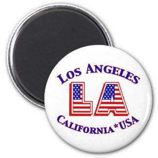 Patriotisches Logo Los Angeless USA Runder Magnet 5,7 Cm