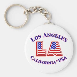 Patriotisches Logo Los Angeless USA Standard Runder Schlüsselanhänger