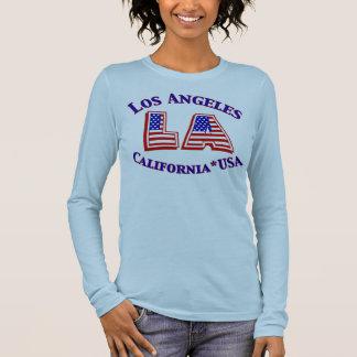 Patriotisches Logo-Shirt Los Angeles USA Langarm T-Shirt