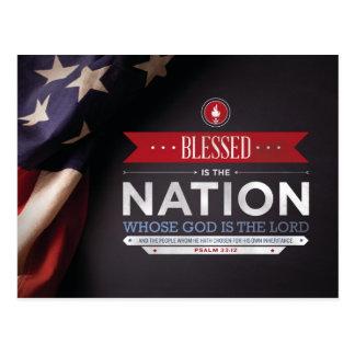 Patriotisches Mousepad - Psalm-33:12 Bibel-Vers Postkarte