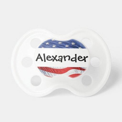 Patriotisches personalisiertes NamensUS Flagge USA Baby Schnuller