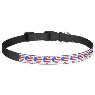 Patriotisches rotes weißes Blau USA-Flagge-Herz Haustierhalsband