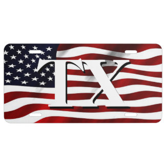 Patriotisches Texas und die amerikanische Flagge US Nummernschild