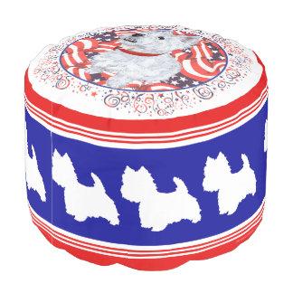 Patriotisches Westies auf Parade-Puff Hocker