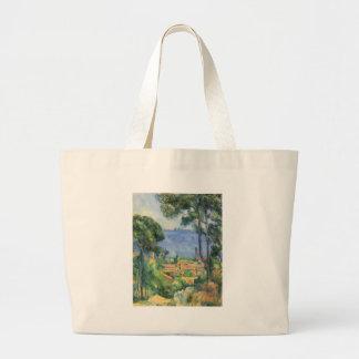 Paul Cezanne - Ansicht von L'Estaque und Chateaux Jumbo Stoffbeutel