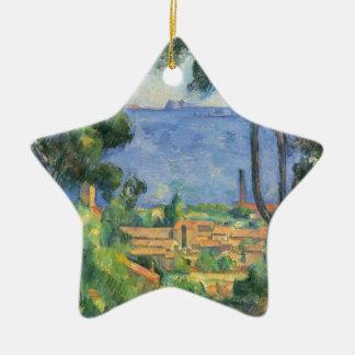 Paul Cezanne - Ansicht von L'Estaque und Chateaux Keramik Stern-Ornament