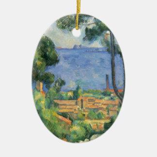 Paul Cezanne - Ansicht von L'Estaque und Chateaux Ovales Keramik Ornament