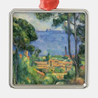 Paul Cezanne - Ansicht von L'Estaque und Chateaux Quadratisches Silberfarbenes Ornament