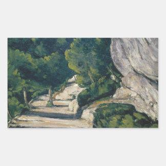 Paul Cezanne - Landschaft. Straße mit Bäumen in Rechteckiger Aufkleber