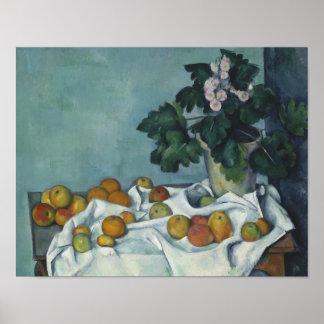 Paul Cezanne - Stillleben mit Äpfeln und einem Poster