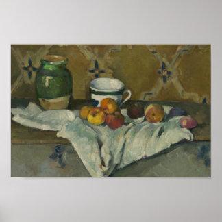 Paul Cezanne - Stillleben mit Glas, Schale und Poster