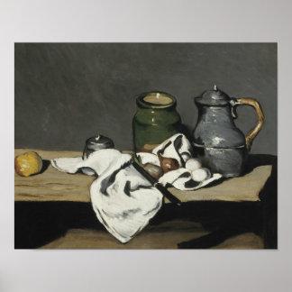 Paul Cezanne - Stillleben mit Kessel Poster