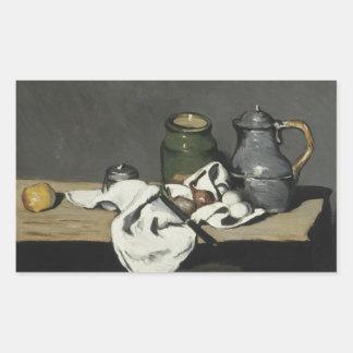 Paul Cezanne - Stillleben mit Kessel Rechteckiger Aufkleber