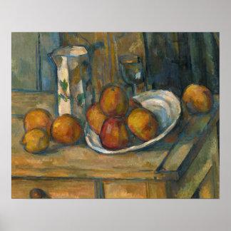 Paul Cezanne - Stillleben mit Milchkrug und Frucht Poster