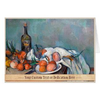 Paul Cézanne, Stillleben mit Zwiebeln und einer Karte