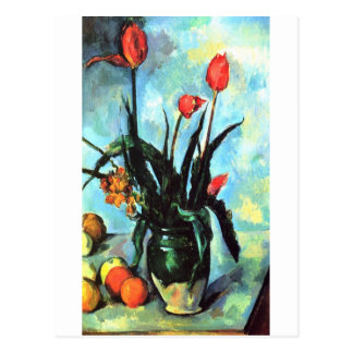 Paul Cezanne - Vase Tulpen Postkarte