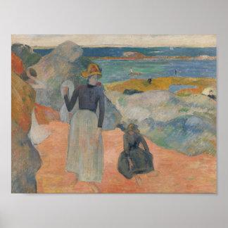 Paul Gauguin - auf dem Strand in Bretagne Poster