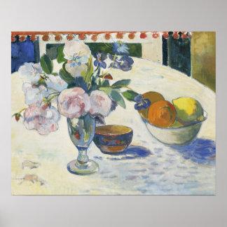 Paul Gauguin - Blumen und eine Schüssel von der Poster